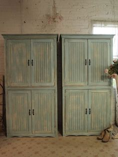 Painted Cottage Chic Shabby Farmhouse Cabinet by paintedcottages, $795.00
