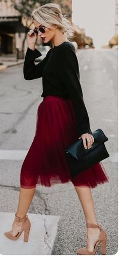 Knee length wine colored skirt. Perfect for the holidays. $68