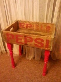 my refab of stairway spindles and a pepsi box into a nightstand catchall - no more knocking my glasses off the nightstand while searching for them in the dark! Spindle Crafts, Wood Crafts, Stair Landing Decor, Staircase Spindles, Old Tool Boxes, Rustic Stairs, Crate Table, Stair Makeover, Painted Stairs