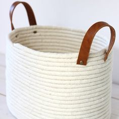 Learn how to make this simple, no-sew rope coil basket with leather handles.