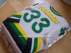 Homemade Hockey Jersey Cake: My son's birthday 'party' is also the end of year hockey gathering for his team at our house. I wanted to make a Hockey Jersey Cake that resembled Hockey Birthday Cake, Hockey Birthday Parties, Cool Birthday Cakes, Hockey Party, Diy Birthday, Ice Hockey, Invitation Fete, Hockey Cakes, Cupcake Cookies
