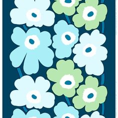 Marimekko Unikko Periwinkle/Mint Fabric - $53.00