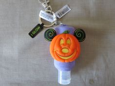 Disney Parks Pumpkin Mickey Mouse Key Chain with 1 oz Hand Sanitizer Bottle New