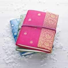 Handmade Sari Notebook - Pocket Journal - Pocket Sized Notebook - Sari Fabric - Gift For Writers - Recycled Paper Notebook - Colourful Gift Leather Photo Albums, Teenage Girl Gifts, Handmade Notebook, Handmade Books, Christmas Stocking Fillers, Pocket Notebook, Sari Fabric, Fabric Gifts, Secret Santa Gifts
