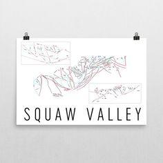 Squaw Valley Ski Map Art, Squaw Valley CA, Squaw Valley Trail Map, Squaw Valley Ski Resort Print, Squaw Valley Poster, Art, Gift