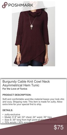 REBORN Cable Knit Cowl Neck L Burgundy Sweater with asymmetrical Hem - beautiful - brand new - See photo for complete description. REBORN Sweaters Cowl & Turtlenecks