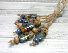 Lampwork.Glass bead handmade. Beads khaki gray by Glasskaramelka
