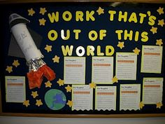 Showcase student work with a space themed bulletin board. Star Themed Classroom, Space Theme Classroom, Stars Classroom, Classroom Design, Science Classroom, School Classroom, Classroom Organization, Classroom Decor, Classroom Displays Ks1