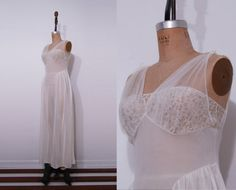 1950s sheer off white slip / Vintage 50s romantic lace by Ainshent, $45.00