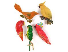 Bright Bird Brooches  Choice of 5 Vintage Pins by OrbitingDebris, $22.00...thought @Stephanie Close Lynn might like this with her featherbabies!