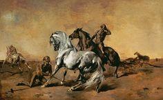 Algérie - Peintre français Eugène Fromentin (1820 - 1876) , Huile sur panneau 1867, Titre : Scène de cavaliers dans le desert