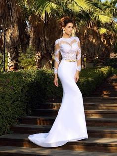 Sheath/Column Scoop Applique Long Sleeves Court Train Satin Wedding Dresses DressyWell