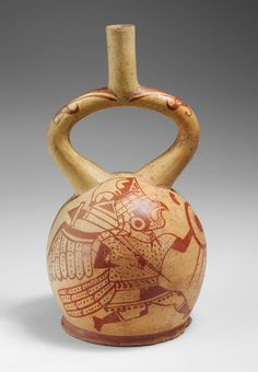Bird Warrior Bottle  Date: 4th–7th century Geography: Peru Culture: Moche Medium: Ceramic Dimensions: H. 11 1/4 x Diam. 6 in. (28.6 x 15.2 cm) Classification: Ceramics-Containers Credit Line: Gift of Nathan Cummings, 1967