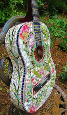 Mosaic Guitar  Rock and Roll Shabby Chic Vintage,,,leave the strings off and birds will nest inside,,,CUTE!!