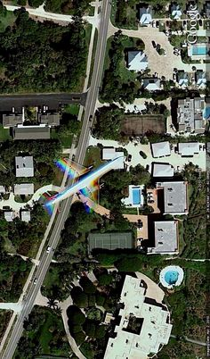 Jetliner over Sanibel Island, Florida. Image from Google Earth.