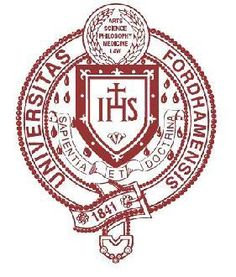 The Fordham University seal, like that of Oxford, is encircled by a belt. Unlike many other universities, Fordham has declined to simply this logo and instead embraces the rich array of symbols. We see a Coat of Arms of the Society of Jesus, a laurel crown, fiery tongues representing the Holy Spirit, fleurs-de-lys, and a historic list of academic fields. The seal contains three languages: Greek, Latin, and English.