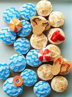 Party Cupcakes Beach Party Cupcakes :: Better Homes & Gardens Love the mix of sand and sea using cupcakes!Beach Party Cupcakes :: Better Homes & Gardens Love the mix of sand and sea using cupcakes! Swim Party Cupcakes, Beach Cupcakes, Cute Cupcakes, Cupcake Party, Birthday Cupcakes, Cupcake Cakes, Ladybug Cupcakes, Kitty Cupcakes, Snowman Cupcakes