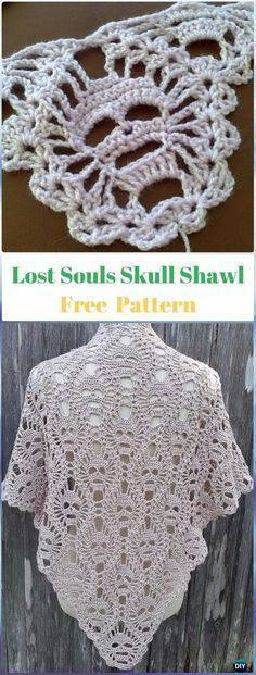 Crochet Lost Souls Skull Shawl Free Pattern - Crochet Skull Ideas Free Patterns