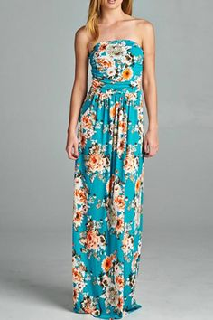 Floral Strapless Tube Maxi Dress. Turquoise Floral Maxi by Cloudwalk. Clothing - Dresses - Maxi Minneapolis, Minnesota