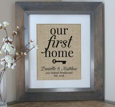 Our First Home Burlap Print House Warming Gift by EmmaAndTheBean