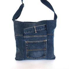 Bandolera jeans para hombres y mujeres reciclado del dril de