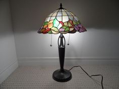 Tiffany hanging stained glass lamp exquisitely hand made by stained glass tiffany type lamp shade only 8quoth x 15quot in mozeypictures Images
