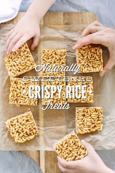 These naturally-sweetened crispy rice treats are a real food version of the classic rice crispy treat. So easy to make, and no baking required.