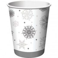 96 Silver Winter Snowflake Christmas Hot and Cold Drinking Party Cups - 9 oz. Wholesale Party Supplies, Discount Party Supplies, Kids Party Supplies, Frozen Birthday Party, Frozen Party, Snowflake Party, Wholesale Balloons, Disney Balloons, Paper Snowflakes