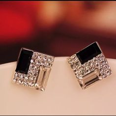 Square Black & Clear Rhinestone Stud Earrings Square shaped geometrical black & clear rhinestone stud earrings. Perfect for day or evening. New. No Trades, No PP. Jewelry Earrings