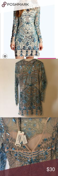 Boutique embellished dress Boo Hoo a U.K. Brand New with tags Boo Hoo Boutique dress size 10 in UK but is a Medium doesn't fit me.  Never worn. Dresses Long Sleeve
