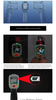 MUSTOOL® MT6800 -50~800℃ Digital LCD Color Display Non-contact Infrared Laser…