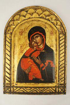 Vintage Religious Icon Madonna & Child Christian Catholic Orthodox Greece