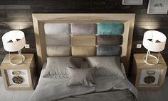 Dormitorio de matrimonio contemporaneo para tu hogar. Diferentes lacados, maderas y tapizados