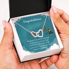 This necklace is a great way to show a special graduate how proud you are of their accomplishment of completing law school.The message card says: all of your hard work has payed off and you are now a lawyer. Your determination will help you go far in your career. I know that you are going to do great things. #lawschoolgraduate #giftlawschoolgraduation #giftforlawyergraduation Graduation Necklace, Graduation Gifts, Christmas Gift For You, Perfect Christmas Gifts, Sober, Double Heart Necklace, Love Lily, Two Hearts, Heart Melting