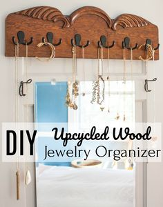 DIY Upcycled Wood Jewelry Organizer - Learn how to make a jewelry organizer to hang on a wall . Upcycled Furniture, Diy Furniture, Affordable Home Decor, Diy Desk, Valentines Diy, Jewelry Organization, Organization Ideas, Decorating Blogs, Household Items