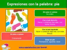 B1. EXPRESIONES CON LA PALABRA PIE Spanish Phrases, Teaching Spanish, Language, Learning, Frases, Spanish Vocabulary, Idioms, Learn Spanish, Parts Of The Body