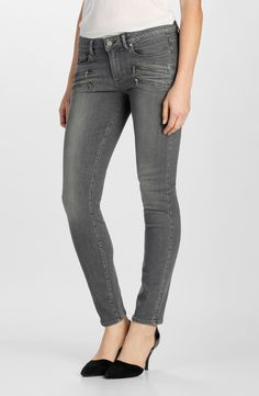 Paige Denim 'Transcend - Edgemont' Ultra Skinny Jeans (Silvie) at Nordstrom.com. Grey skinny jeans with thoroughly sanded legs and exposed front zips put a moto-inspired twist on an everyday look. Using the latest in performance-fiber technology, TRANSCEND denim redefines luxury, recovery and comfort with a fabrication that provides a flawless fit without stretching out.