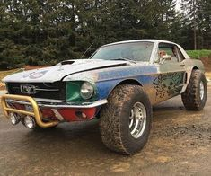 Mustang abomination « gorgeous On When a car's ahead of you, as long as you can see it, you get a tow, just like the draft in NASCAR. Jacked Up Trucks, Lifted Cars, Custom Muscle Cars, Custom Cars, Hot Rods, Rat Hod, Monster Car, Sweet Cars, Mustang Cars