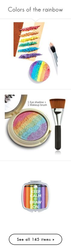 """""""Colors of the rainbow"""" by michal100-15-4 ❤ liked on Polyvore featuring beauty products, makeup, face makeup, palette makeup, makeup tools, makeup brushes, beauty accessories, home, home decor and office accessories"""
