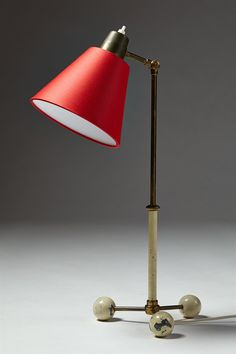 Anonymous; Brass and Enameled Brass Table Lamp, 1940s.