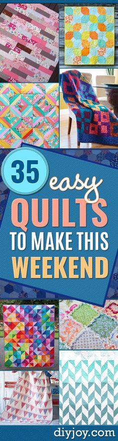 Best Quilts to Make This Weekend - Free Quilt Patterns and Quilting Tutorials - Quilting for Beginners and Sewing Ideas - DIY Baby Quilts, Easy Modern Quilts, Jelly Roll Quilting For Beginners, Quilting Tutorials, Quilting Projects, Quilting Designs, Sewing Projects, Sewing Ideas, Sewing Tips, Sewing Tutorials, Quilting Ideas