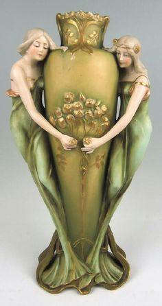 "Ernst Wahliss Amphora Art Nouveau Vase, circa 1900, figural Amphora vase with two beautiful maidens, marked ""E W"" in shield with crown mark and ""Austria"" numbered ""4872"", 14.5"" x 7.5"""