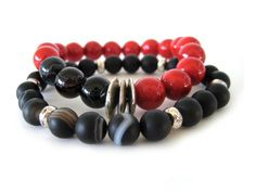 This stunning beaded stretch bracelet set features 10mm beet red riverstone beads, 10mm black agate beads, 8mm matte black agate beads and pewter accent beads. The three focal accent beads are so cool and unique and give these handmade bracelets a cool vibe. The perfect accessory to make an outfit pop!