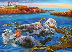 The Sea Otter Family is enjoying a relaxing day together snuggling amongst the kelp, eating sea urchins. Cobble Hill offers the perfect solution for families puzzled about what to do together! The Family Pieces puzzle has large, medium, and small sized Cat Sweatshirt, Relaxing Day, Fun Challenges, Otters, Snuggles, Jigsaw Puzzles, Illustration Art, Illustrations, Wildlife