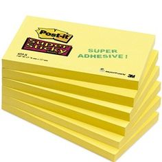 3M Super Sticky Canary Yellow Post-It Notes 76 x 127mm R330-12SSCY Sticky Pads, Adhesive, Office Supplies, Notes, Yellow, Crafts, Report Cards, Manualidades, Notebook