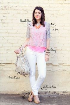 lace top over color, plus white jeans