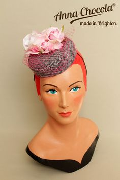 1940s 50s Burlesque PILLBOX HAT grey tweed pink ROSES Anna Chocola Brighton