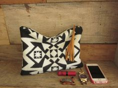 Geometric Black and white Wool Clutch