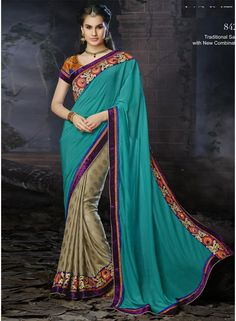 Fabulose Half N Half Designer Traditional Saree.This Saree Designed Teal Color Pallu With Embroidery Work And Velvet Border Work And Light Brown Skirt With Embroidery Work Border.Available With Matching Designer Unstitched Blouse.Slight Variation In Color And Work May Be Possible,Accessories Shown In The Image Is Photography Purpose Only. http://www.angelnx.com/Sarees/Wedding-Sarees/fabulose-half-n-half-designer-traditional-saree_9418