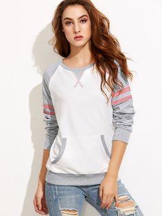 Color Block Varsity Striped Raglan Sleeve Sweatshirt